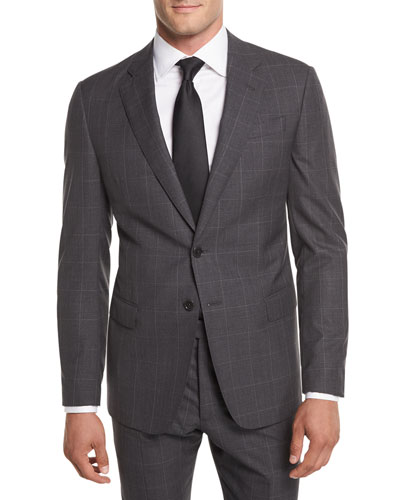 Textured Windowpane Wool Two-Piece Suit