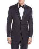 Micro-Diamond Pattern Wool-Blend Tuxedo