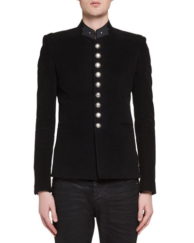 Officer Cotton Military Jacket, black