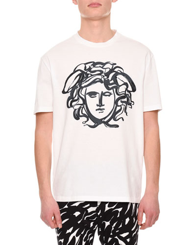 Painted Medusa Cotton T-Shirt, White/Black