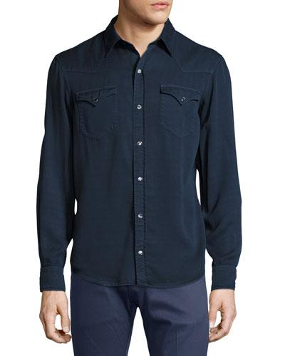 Lyocell Western Shirt, Navy