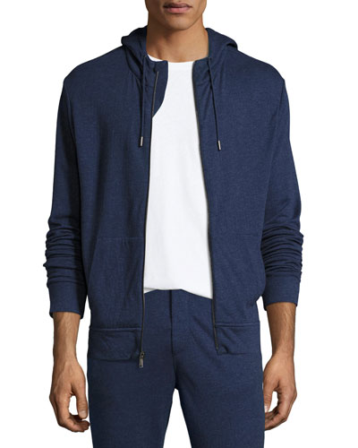 Duofold Zip-Front Hoodie, French Blue