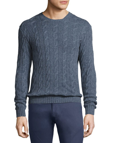 Cashmere Cable-Knit Crewneck Sweater, Supply Blue