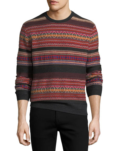 Cashmere-Blend Southwestern-Knit Striped Sweater