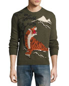 Tiger Intarsia Wool-Cashmere Sweater