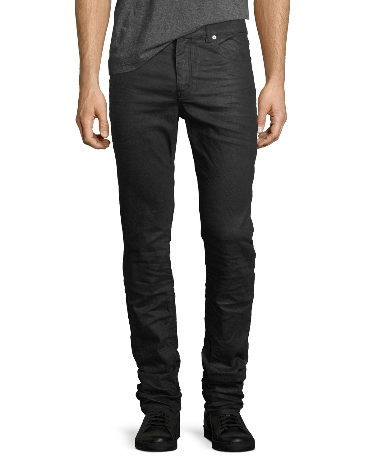 Coated Denim Skinny Jeans