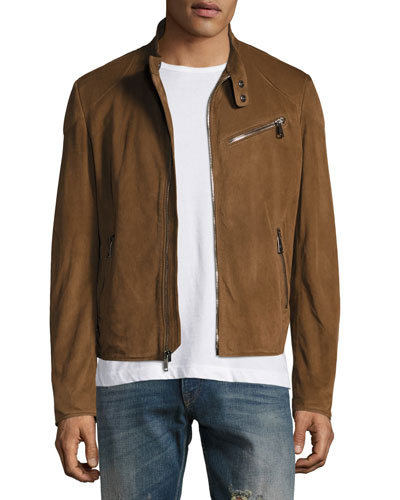 Suede Biker Jacket, Chestnut Brown