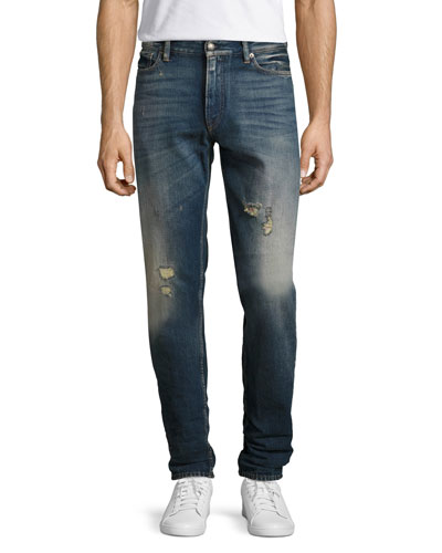 Slim Tapered Denim Jeans, Washed Blue