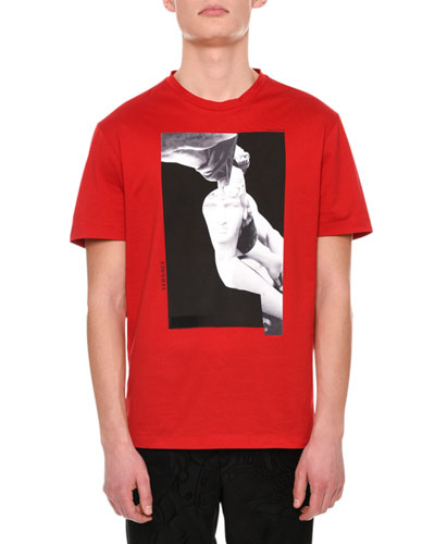 Statue Logo-Print Cotton T-Shirt, Red