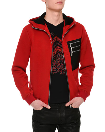 Neoprene Leather Zip Hoodie, Red