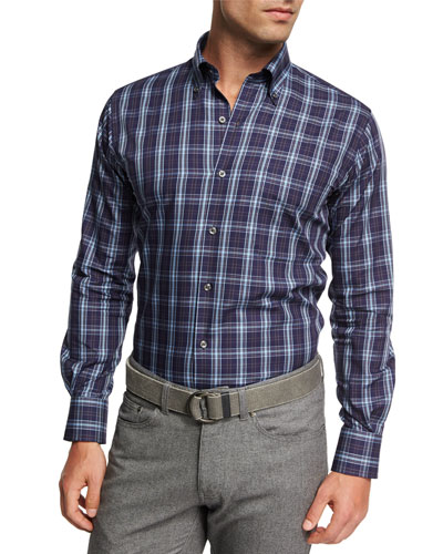 Crown Blackfoot Plaid Cotton Shirt, Navy