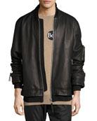 Rudyard Leather Bomber Jacket, Black