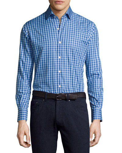 Crown High Latitude Gingham Cotton Shirt, Blue