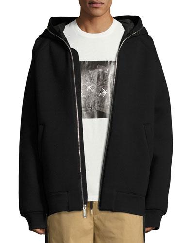 Oversized Full-Zip Neoprene Hoodie, Black