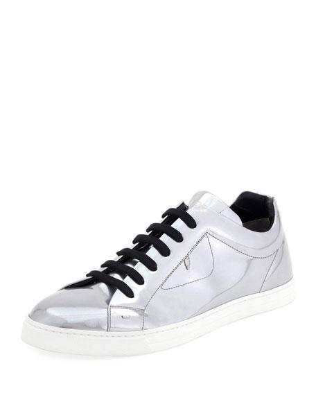 Fendi Men's Bag Bugs Metallic Leather Low-Top Sneakers, Silver