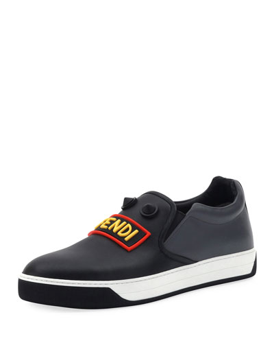 Vocabulary Face Leather Slip-On Skate Sneaker, Black
