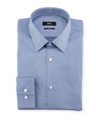 Jacquard Dot Slim-Fit Travel Dress Shirt, Blue