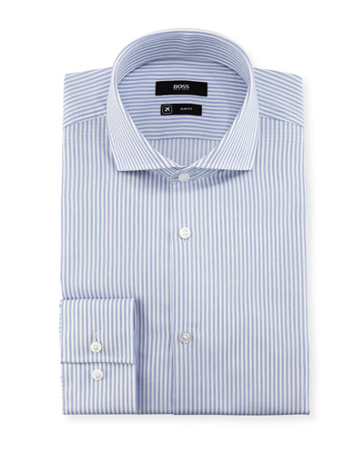 Striped Slim-Fit Travel Dress Shirt, Blue