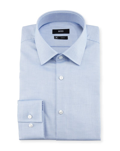 Textured Solid Slim-Fit Travel Dress Shirt, Light Blue