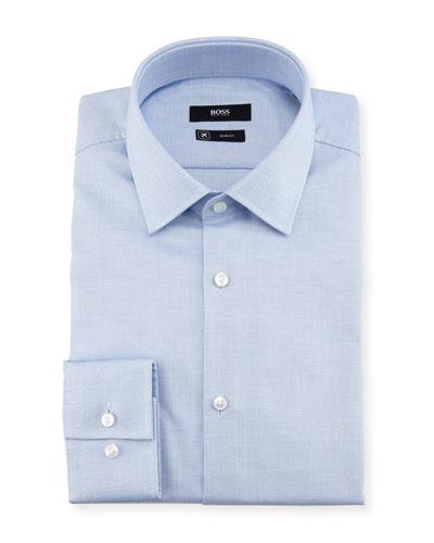 Textured Solid Slim-Fit Travel Dress Shirt, Light Blue