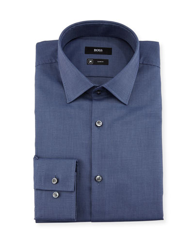 Textured Solid Slim-Fit Travel Dress Shirt, Navy