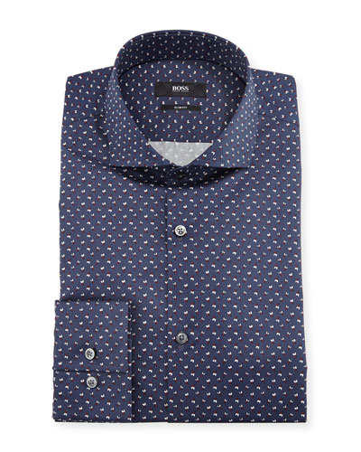 Leaf-Print Slim-Fit Dress Shirt, Navy