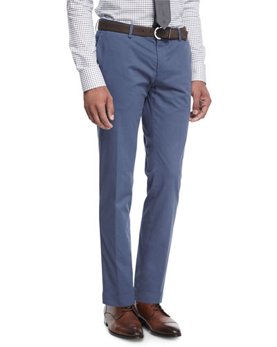 Stretch-Cotton Slim-Straight Pants