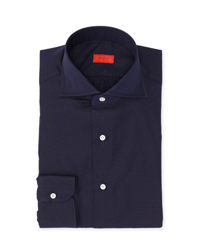 Micro-Effect Cotton Solid-Color Dress Shirt