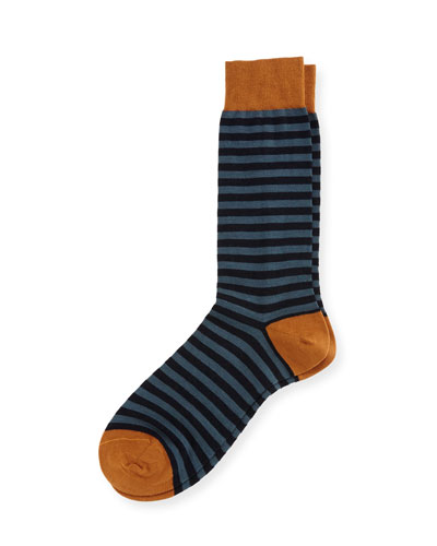 Harrow Striped Half-Calf Dress Socks