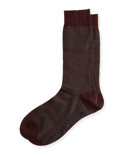 Montague Houndstooth Birdseye Check Socks