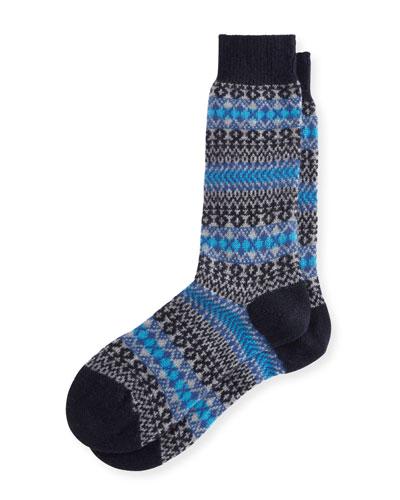 Mapperton Fair Isle Half-Calf Socks