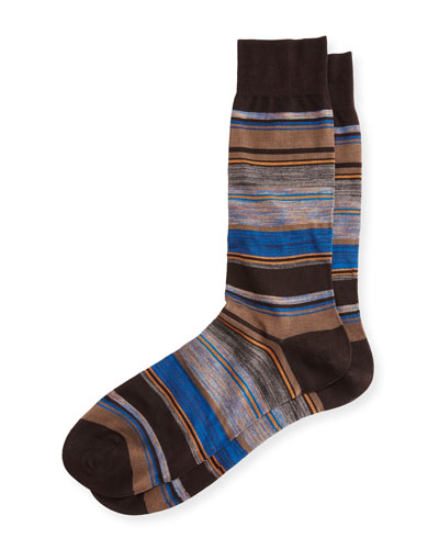 Moxon Space-Dye Striped Half-Calf Socks