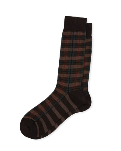 Chadwell Check Half-Calf Dress Socks