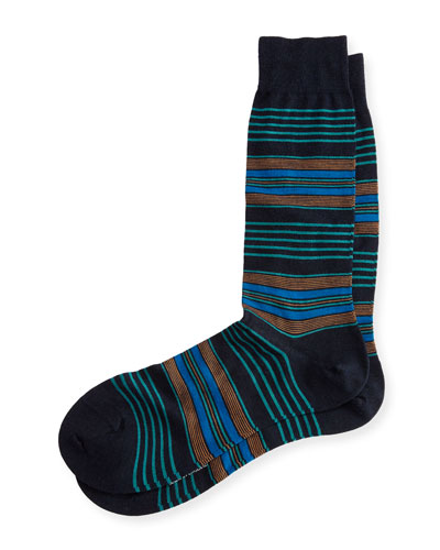 Silbury Multi-Striped Half-Calf Socks