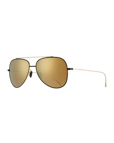 Swing Titanium Pilot Sunglasses, Gold/Black