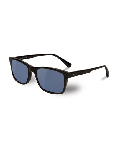 District Medium Rectangular Sunglasses, Black