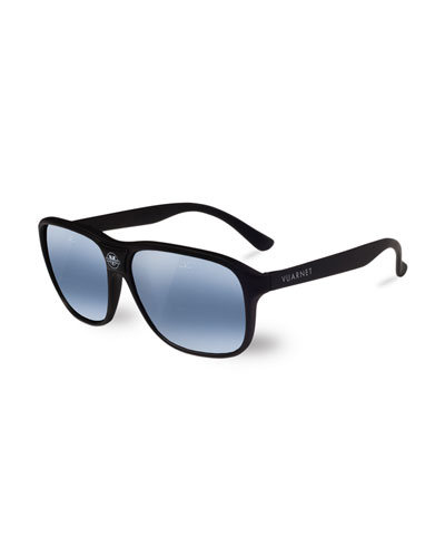 03 Acetate Pilot Polarized Sunglasses, Black