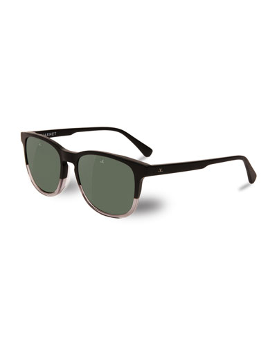 District Two-Tone Square Polarized Sunglasses, Black/Crystal