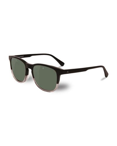 District Two-Tone Square Polarized Sunglasses, Black/Crystal