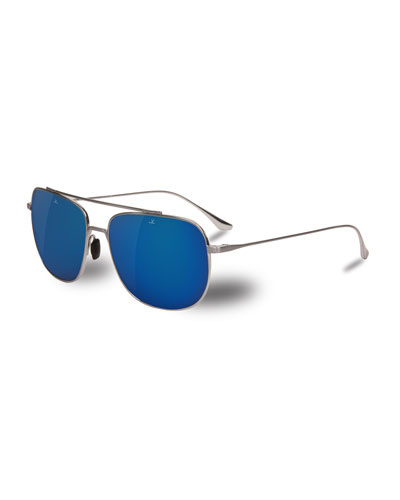 Swing Titanium Rectangular Aviator Sunglasses, Silver/Blue