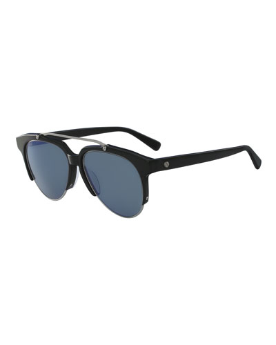 Acetate & Metal Aviator Sunglasses, Black