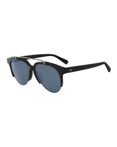 Acetate & Metal Aviator Sunglasses, Black