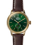 Men's 42mm Bedrock Chronograph Watch, Forest Green/Oxblood/Golden