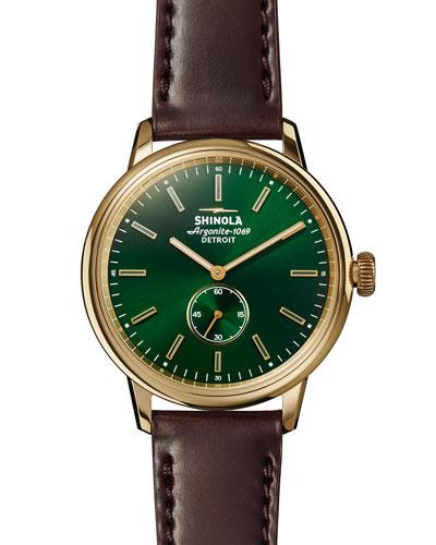 42mm Bedrock Chronograph Watch, Forest Green/Oxblood/Golden