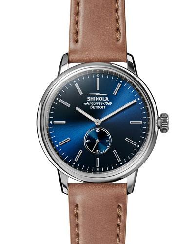 42mm Bedrock Chronograph Watch, Midnight Blue/Natural