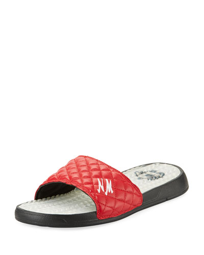 Neiman Marcus Quilted Slide Sandal