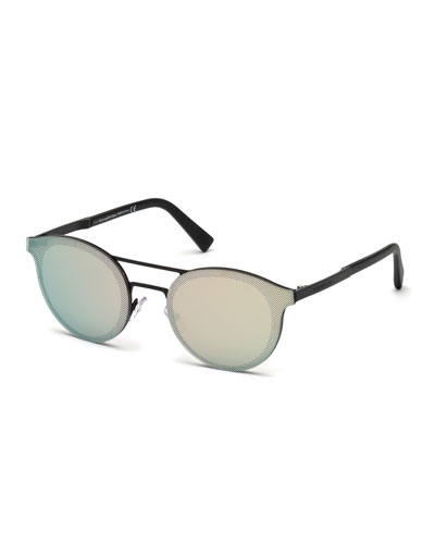 Round Double-Bridge Flash Sunglasses, Matte Black/Rose Gold