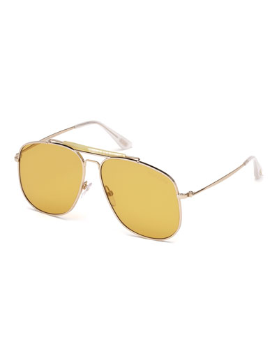 Connor Runway Aviator Sunglasses, Shiny Rose Gold/Orange