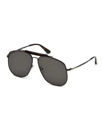 Connor Runway Aviator Sunglasses, Black/Smoke