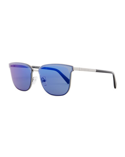 Round Double-Bridge Flash Sunglasses, Shiny Palladium/Gray Gradient